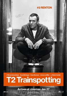 Back to where it all started: Ewan McGregor is seen posing on a toilet in a new promotional poster for his upcoming movie T2