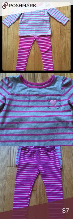Striped baby girl top and leggings For the stripe lovers: purchased by me separately but love the look together! Heather gray and magenta striped top with pink heart on tiny chest pocket and gathering at shoulders to give a bit of feminine flair. Size 18-24 months long-sleeved from Children's Place. Worn lovingly with size 2T crazy 8s magenta and white striped leggings. (Also gently worn.) Items work well with many other colors and are comfy for day-to-day use! crazy 8s Matching Sets