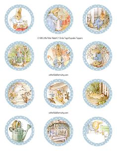 Little Peter Rabbit Digital Cupcake Toppers or Favor Tags