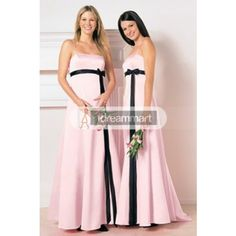 Spaghetti Pink and Black Satin Bowtie Wedding Party Dress