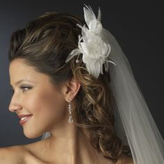 Ivory Hair Flower Bridal Fascinator with Crystals - on sale!,Affordable Elegance Bridal -