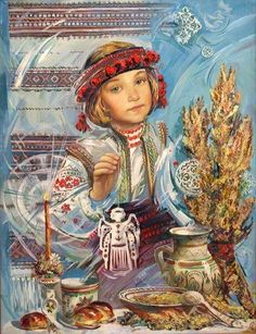 Art Ukraine added a new photo. Russian Folk, Russian Art, Ukrainian Christmas, Ukrainian Art, Naive Art, Book Images, My Heritage, Whimsical Art, Conte