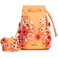 Marina Hoermanseder Embellished Leather Drawstring Bag (€735) ❤ liked on Polyvore featuring bags, handbags, orange, leather flower purse, leather shoulder bag, leather handbags, genuine leather handbags and leather tote bags