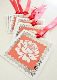 HANDMADE GIFT TAGS Set of 6 Peony Peonies Flower by stephanieh02, $7.00