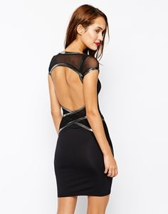 Quontum Bodycon Dress with Gunmetal Trim and Open Back