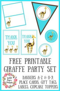 Includes banners A-Z & place cards, gift tags, labels, stickers, and cupcake toppers. Party Printables, Free Printables, Giraffe Decor, Baby Shower Giraffe, Crafts For Kids To Make, Kids Crafts, Paper Place, Party Kit, Party Themes