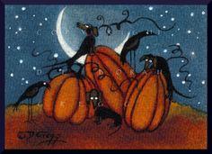 Pumpkin Treasure, a tiny Dachshund Crow Pumpkin PRINT by Deborah Gregg Halloween Artwork, Halloween Prints, Halloween Pictures, Happy Halloween, Halloween Stuff, Holidays Halloween, Halloween Ideas, Pumpkin Moon, Pumpkin Tree