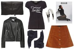 Orange skirt, leather jacket & panty - Styled by Manon