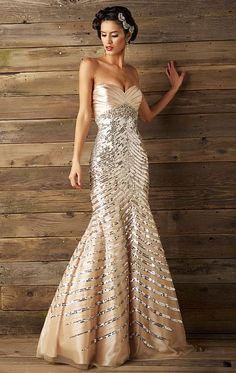 Old Hollywood Glam Style Mermaid Dress