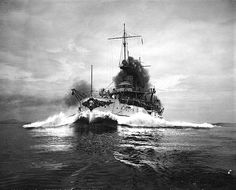 USS Connecticut Battleship BB-18 seen on high speed trials in 1906. fter completing her service with the Great White Fleet, Connecticut participated in several flag-waving exercises intended to protect American citizens abroad until she was pressed into service as a troop transport at the end of World War I to expedite the return of American Expeditionary Forces from France.
