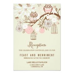Owl Wedding Reception Owl You Need Is Love Pink Owls Reception Card
