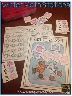 Winter themed kindergarten math stations.  Adding up snowflakes.