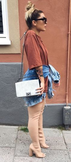 Denim Thigh High Boats Outfit Fall Ideas For 2019 Trendy Outfits, Fall Outfits, Summer Outfits, Cute Outfits, Fall Fashion Trends, Diy Fashion, Fashion Ideas, Boating Outfit, Fashion Killa