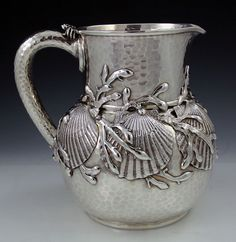 Tiffany antique sterling silver pitcher with applied shells and seaweed - Art Curator & Art Adviser. I am targeting the most exceptional art! Catalog @ http://www.BusaccaGallery.com
