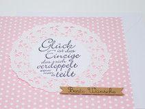 Glückwunschkarte zur Hochzeit rosa  mit Spitze ...