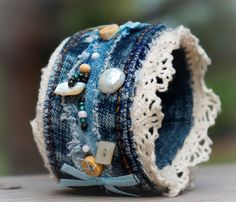 Denim Cuff... ADORABLE by SeamMonkey on Etsy