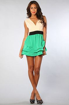 Color Block Dress in Peach and Green