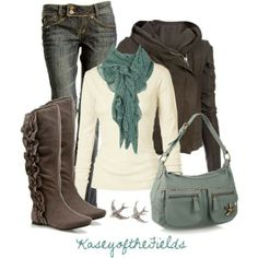 What: Jeans, Grey-Brown boots and jacket, Grey purse and teal scarf Where: Pinterest Why; I love how grey and blue hues go so well together. This outfit is perfect for fall because it is cozy, casual, and mature.