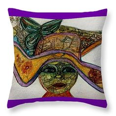 """sassy susie Throw Pillow 14"""" x 14"""" by Stephanie Zelaya"""