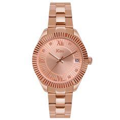 Ρολόι Jcou της σειράς Queen s Mid από ροζ επιχρυσωμένο ανοξείδωτο ατσάλι.  Το καντράν είναι ροζ 15297a6581a