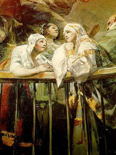 Detail of Francisco Goya's frescoes in the Real Ermita de San Antonio de la Florida in Madrid, Spain Francisco Goya, Spanish Painters, Spanish Artists, Goya Paintings, Art Periods, Time Painting, Caravaggio, San Antonio, Art History