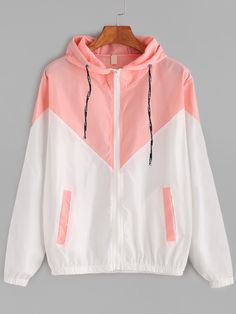 Dotfashion Color Block Contrast Drawstring Hooded Zip Up Pink Jacket Female Casual Coat 2019 Autumn Clothing Spring Outerwear Source by clothing Pink Jacket, Jacket Style, Coats For Women, Jackets For Women, Windbreaker Outfit, Cute Jackets, Sports Jacket, Mantel, Spring Outfits