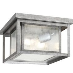 Sea Gull 78027-57 - Hunnington Two Light Outdoor Ceiling Flush Mount in Weathered Pewter