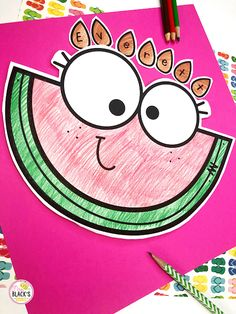 Watermelon Name Craft Plus Writing (Mrs. Watermelon Cutting, Watermelon Crafts, All About Me Activities, Writing Activities, New School Year, Back To School, First Grade Crafts, Bulletin Board Letters, Name Crafts