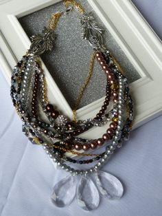Items similar to Statement Necklace, Nine Strand Beaded Stunner on Etsy Pearl Necklace, Pearls, Trending Outfits, Unique Jewelry, Handmade Gifts, Pretty, Holiday, Vintage, Fashion