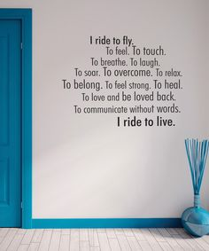'I Ride to Live' Wall Quote (on zulily!)