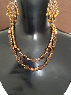 Copper and Brown Necklace and Earring Set by WirednStrung on Etsy