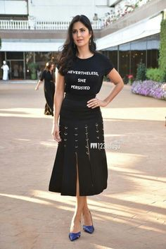 Bollywood actress katrinakaif in black at an book event