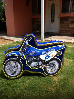 Dirt Bike blue Pinata. $35.00, via Etsy.