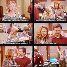 Leslie, master of the impromptu wedding (or really any impromptu event, lets be honest)