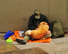 Man in Cologne, Germany.. Dogs really are a mans best friend. So sweet