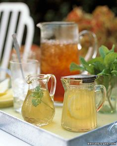 Infused Iced Tea Syrups | Martha Stewart Living - It's one of summer's perennial quandaries: How do you get sugar to dissolve in a cold glass of tea? Stop stirring, and instead sweeten your tea with syrups infused with mint or lemon, flavoring your brew at the same time.