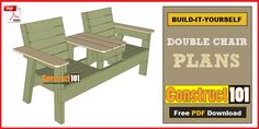 Double chair bench plans, PDF download, includes step-by-step instructions, drawings, measurements, shopping list and cutting list.