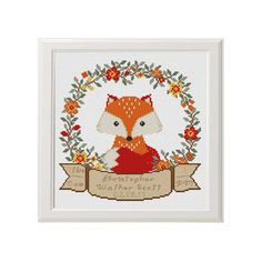 Hey, I found this really awesome Etsy listing at https://www.etsy.com/listing/516462565/baby-cross-stitch-fox-birth-announcement