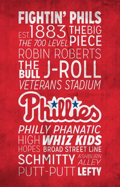 Being a Phillies fan isnt a hobby, its life! Show your team spirit with this print that is filled with phrases and words that every Phillies fan