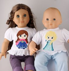 Anna & Elsa American Girl 18 Doll Shirt  Disney by GirlieQs, $26.00