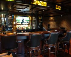 Marvellous Irish Pub Decorating Ideas With Vintage And Classic Touch: Traditional Basement Irish Pub Feel With Herry Bar And Ceiling Way Vintage Chairs Bar Stools ~ aureasf.com Basement Designs Inspiration