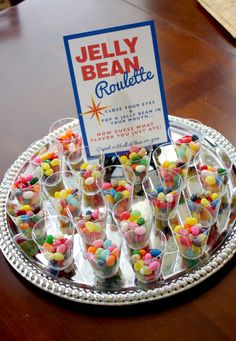 Vegas Party Ideas | Shots of jelly beans for Jelly Bean Roulette- we tried to guess what ...