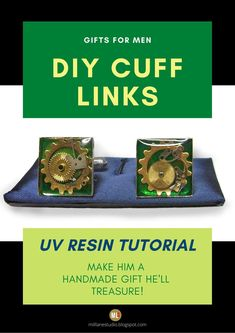It's always so hard to find the right gift for the special man in your life, right? Well, how about making him something that he'll LOVE! This resin tutorial shows you the process for how to make basic cuff links with UV resin. To personalise them just for him, insert themed items in the layers of resin to suit his style. #MillLaneStudio #personalizedcufflinks #diyresinproject #fathersdaygiftidea #mensaccessories #resincufflinks