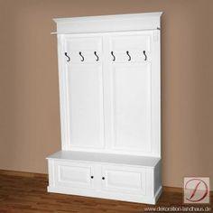 Garderobe SHEFFIELD weiß H210cm Pinie Massivholz - Die einteilige Garderobe bringt Ordnung und Stil in Ihr Heim. Dieses Landhausmöbel, weiß lackiert und aus edlem, massiven Pinienholz gefertigt, wird Sie begeistern.