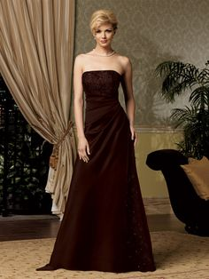 Strapless satin mother of the bride gown