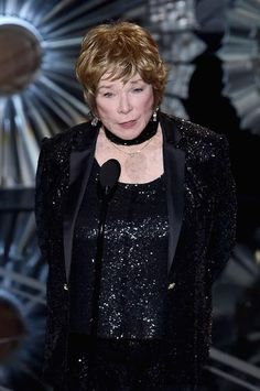 Oscars' Best Beauty Looks | Shirley MacLaine with a with a tousled pixie cut and flushed pink makeup at the 2015 Oscars