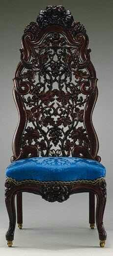 "Chair :Mid-19th Century Victorian ""Rococo"" machine manufacture w/ hand-finish, as exemplified by work of Belter, Meeks, etc"