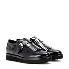 Tod's - Frangia leather monk shoes - Polish your preppy look with Tod's polished black leather monk shoes. The classic silhouette will pair effortlessly with everything from your favourite skinnies to tailored shift dresses. seen @ www.mytheresa.com