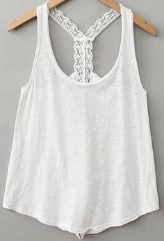 White Strap Lace Backless Vest 10.83