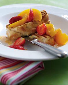 Griddled Brioche with Strawberry & Peach Salsa
